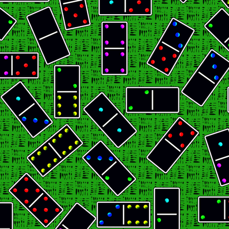 Black Dominoes Pattern - Green fabric by stradling_designs on Spoonflower - custom fabric