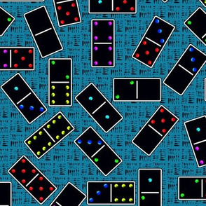 Black Dominoes Pattern - Light Blue