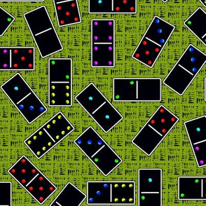Black Dominoes Pattern - Light Green