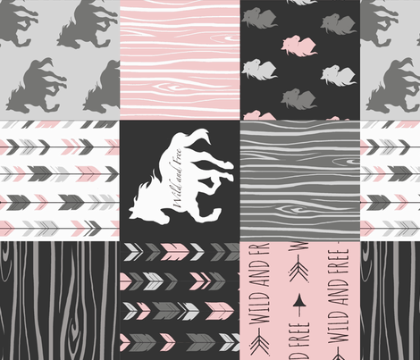 Horse  Patchwork - pink and black - ROTATED -Wild and free fabric by sugarpinedesign on Spoonflower - custom fabric