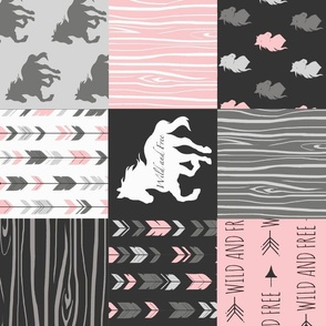Horse  Patchwork - pink and black - ROTATED -Wild and free