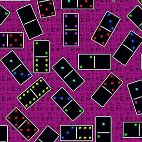 Black Dominoes Pattern - Pink