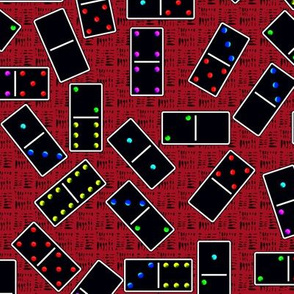 Black Dominoes Pattern - Red