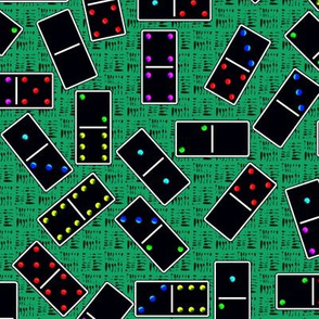 Black Dominoes Pattern - Teal