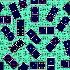 Blue Dominoes Pattern - Pastel Cyan