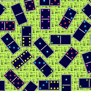 Blue Dominoes Pattern - Pastel Light Green