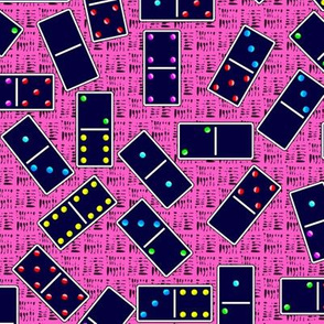 Blue Dominoes Pattern - Pastel Pink