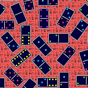 Blue Dominoes Pattern - Pastel Red