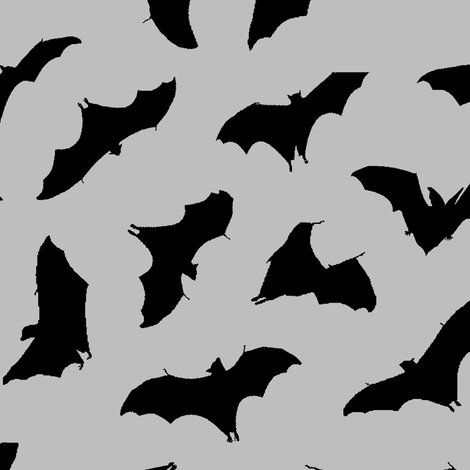 Bats in Flight // Light Grey // Large fabric by thinlinetextiles on Spoonflower - custom fabric