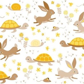 tortoise, hare, mouse and snail - yellow