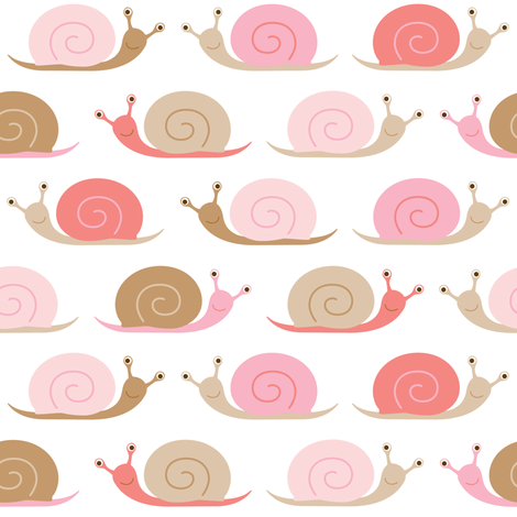happy snails - pink fabric by heleenvanbuul on Spoonflower - custom fabric