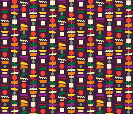 Veggie Kebabs (aubergine) fabric by seesawboomerang on Spoonflower - custom fabric
