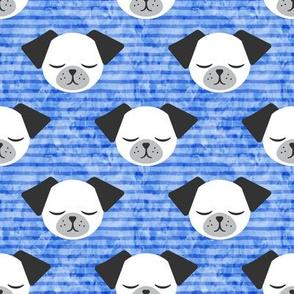 dog on stripes (blue)