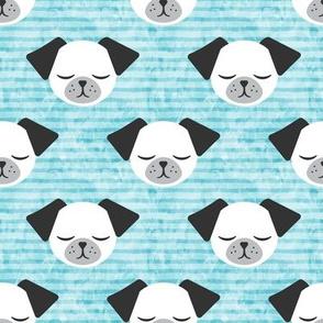 dog on stripes (light blue)