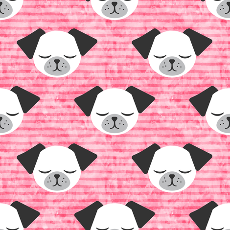 dog on stripes (pink) fabric by littlearrowdesign on Spoonflower - custom fabric