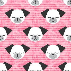 dog on stripes (pink)