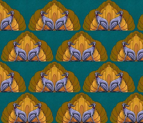 Art deco hounds for Spoonflower challenge_2 fabric by cloudsong_art on Spoonflower - custom fabric