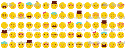 cheeky emoji faces LG all over pattern