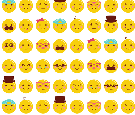 cheeky emoji faces LG all over pattern fabric by misstiina on Spoonflower - custom fabric