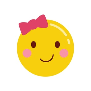 cheeky emoji faces girl with hair bow