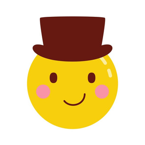 cheeky emoji faces with top hat