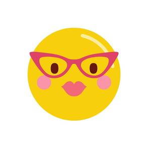 cheeky emoji faces with retro glasses