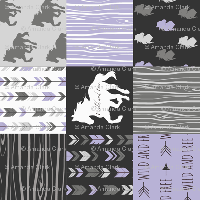 Horse Patchwork - lilac, black, and grey - ROTATED - Wild and free
