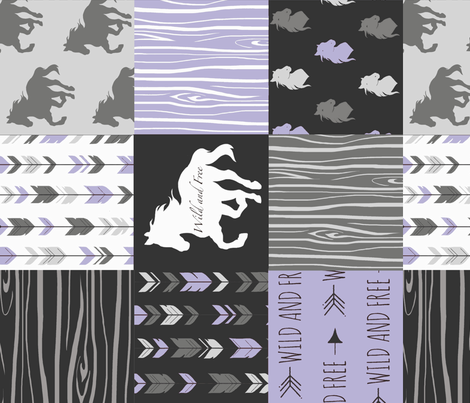 Horse Patchwork - lilac, black, and grey - ROTATED - Wild and free fabric by sugarpinedesign on Spoonflower - custom fabric