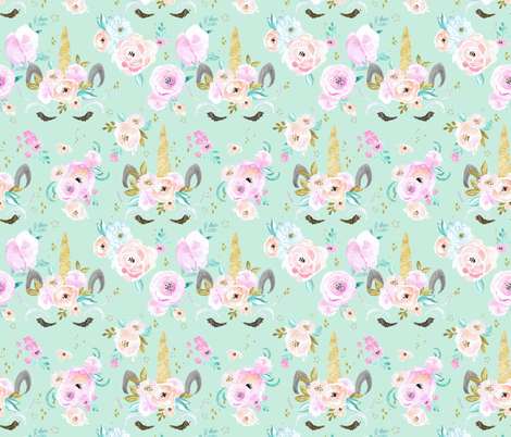 unicorn floral M - mint fabric by crystal_walen on Spoonflower - custom fabric