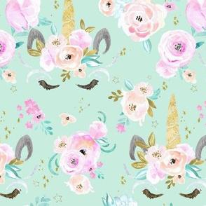 unicorn floral M - mint