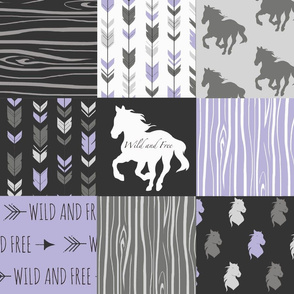Wild Horses Patchwork - lilac, black and grey