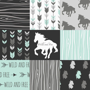 Wild Horses Patchwork - Mint, Black And grey - Wild and free