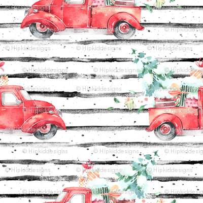 """4"""" Christmas Vintage Truck and Presents // Black and White Stripes"""