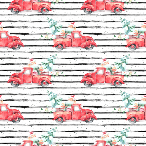 """4"""" Christmas Vintage Truck and Presents // Black and White Stripes fabric by hipkiddesigns on Spoonflower - custom fabric"""