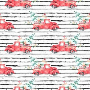 "4"" Christmas Vintage Truck and Presents // Black and White Stripes"