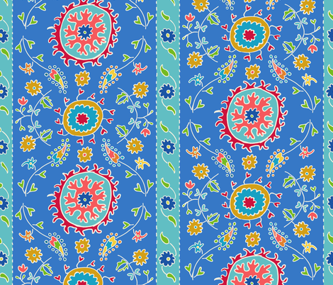 Suzani Wide Stripes Blue Turquoise Multi fabric by kristin_nicholas on Spoonflower - custom fabric