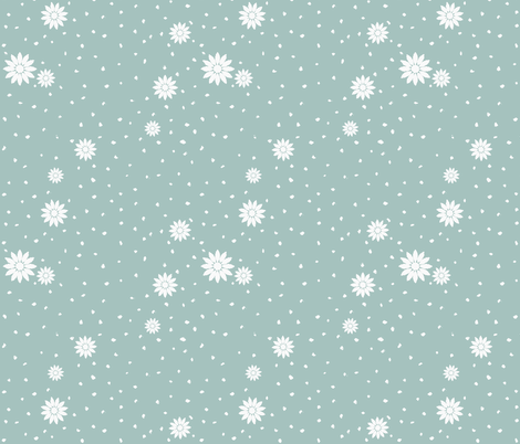 Wild Daisies: Watery Blue 5 fabric by dept_6 on Spoonflower - custom fabric