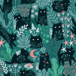green forest, cute cats, fairy girl elves.