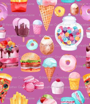 "Watercolor Junk Food Purple 6"""