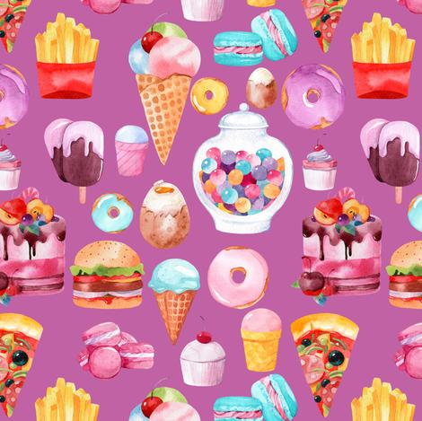 "Watercolor Junk Food Purple 6"" fabric by greenmountainfabric on Spoonflower - custom fabric"