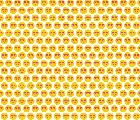 cheeky emoji faces heart eyes fabric by misstiina on Spoonflower - custom fabric