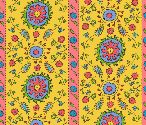 Suzani Wide Stripe in Yellow Coral Turquoise fabric by kristin_nicholas on Spoonflower - custom fabric