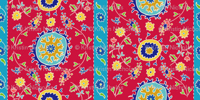 Suzani Wide Stripe Red Blue White
