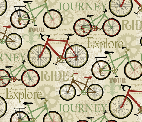 Bicycle Journey fabric by barbarapixton on Spoonflower - custom fabric