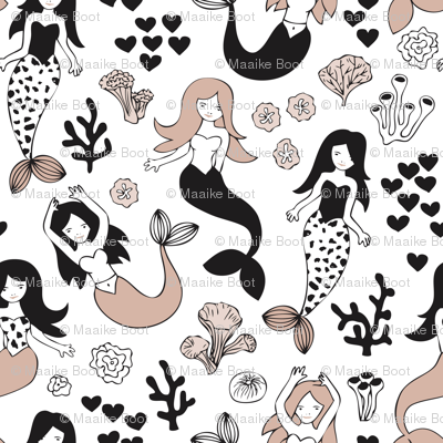 Sweet little mermaid girls theme with deep sea ocean coral illustration details in beige black and white Small