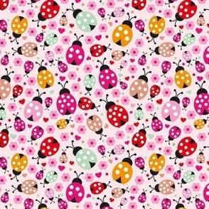 Colorful lady bugs blossom illustration pattern for girls SMALL