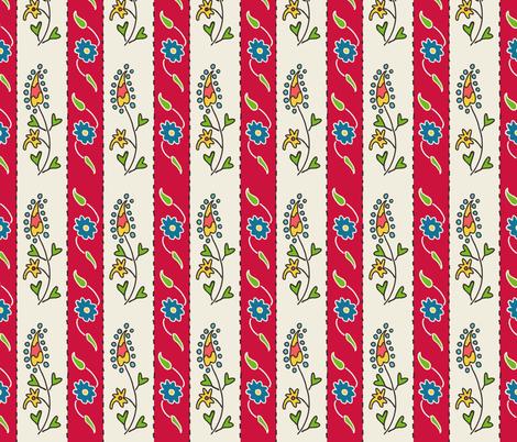 Suzani Narrow Stripe Red White Blue fabric by kristin_nicholas on Spoonflower - custom fabric