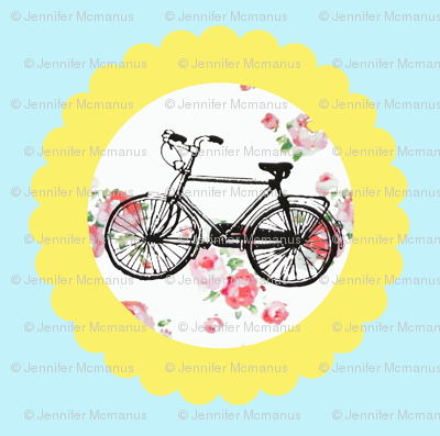 Shabby Chic Bikes on Floral, Yellow and Blue