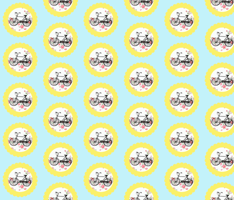 Shabby Chic Bikes on Floral, Yellow and Blue fabric by vintagegreenlimited on Spoonflower - custom fabric