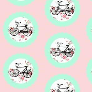 Shabby Chic Bikes on Floral, Pink and Mint